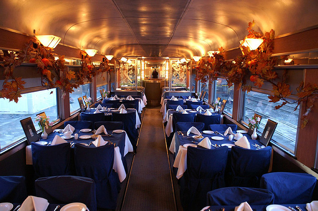 Dinning cart in the Canadian train