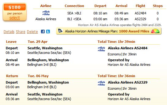 Alaska Airlines flight from Seattle to Bellingham details