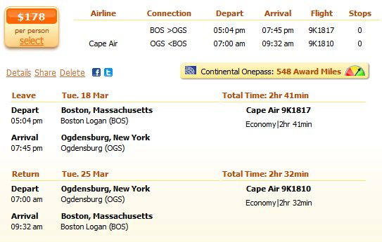 Cape Air flight from Boston to Ogdensburg details