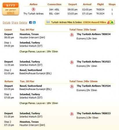 Last minute flight to Basel with the Thy Turkish Airlines details