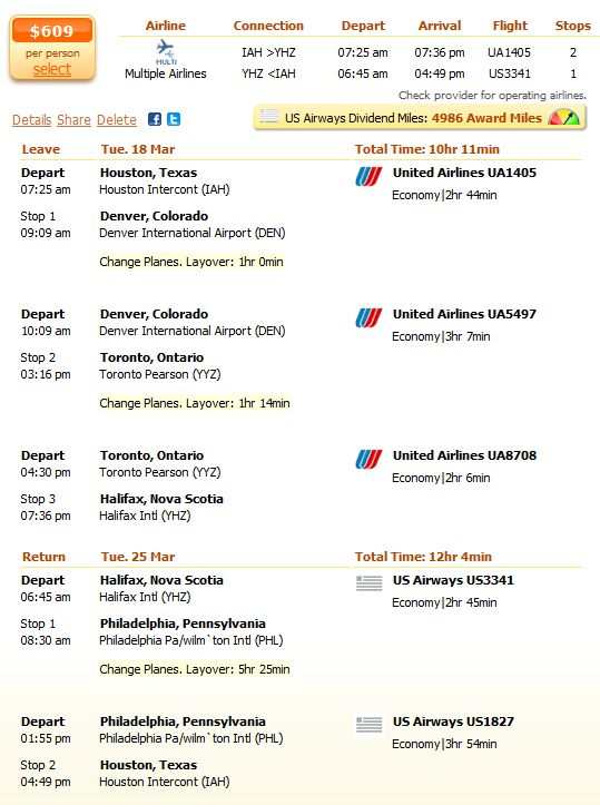 Spring flight from Houston to Halifax details
